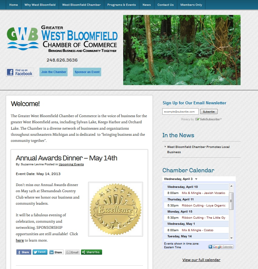 Greater West Bloomfield Chamber of Commerce Website